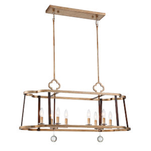 Ava Libertine Pale Gold With Distressed Bronze 13-Inch Eight-Light Chandelier