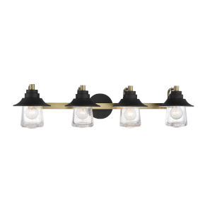 Westfield Manor Sand Coal And Soft Brass Four-Light Bath Vanity