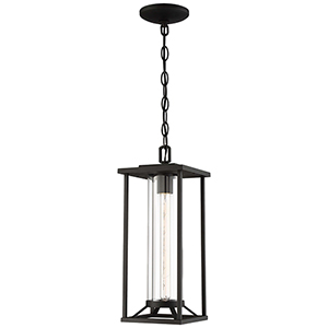 Trescott Black One-Light Outdoor Pendant