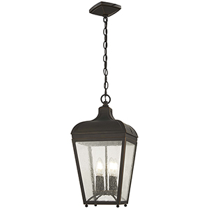 Marquee Oil Rubbed Bronze with Gold Highlights Four-Light Outdoor Pendant