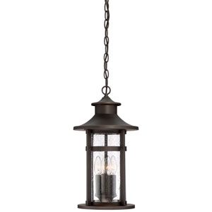 Highland Ridge Oil Rubbed Bronze with Gold Highlights Four-Light Outdoor Pendant with Clear Seeded Glass