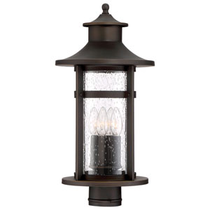Highland Ridge Oil Rubbed Bronze with Gold Highlights Four-Light Outdoor Post Light with Clear Seeded Glass