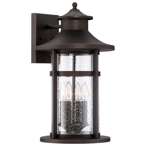 Highland Ridge Oil Rubbed Bronze with Gold Highlights Four-Light Outdoor Wall Mount with Seedy Glass