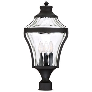 Libre Black Four-Light Outdoor Post Light with Water Glass