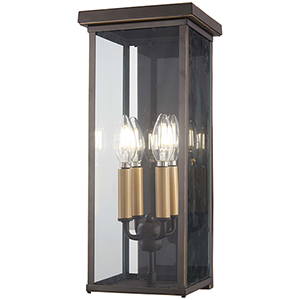 Casway Oil Rubbed Bronze with Gold Highlights 17-Inch Five-Light Outdoor Wall Sconce
