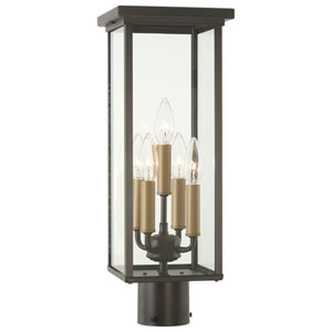 Casway Oil Rubbed Bronze with Gold High Five-Light Post Mount with Clear Glass