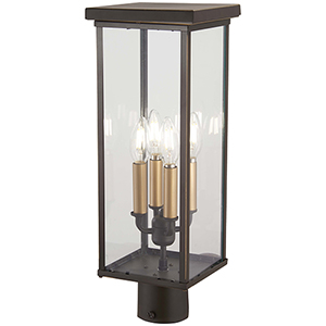 Casway Oil Rubbed Bronze with Gold Highlights Four-Light Outdoor Post Mount