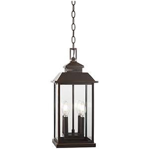 Miners Loft Oil Rubbed Bronze with Gold Highlights Four-Light Outdoor Pendant