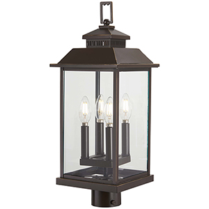 Miners Loft Oil Rubbed Bronze with Gold Highlights Four-Light Outdoor Post Mount