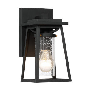 Lanister Court Black With Gold Six-Inch One-Light Outdoor Wall Mount