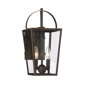 Rangeline Oil Rubbed Bronze With Gold High Two-Light Outdoor Wall Mount