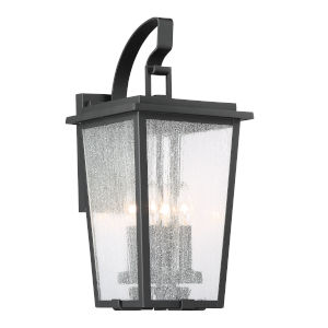 Cantebury Black With Gold Nine-Inch Four-Light Outdoor Wall Mount