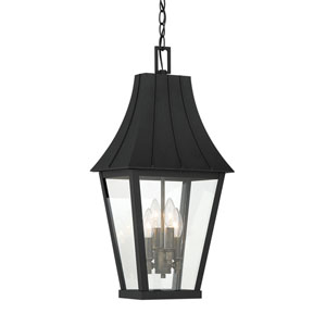 Chateau Grande Coal with Gold Four-Light Outdoor Pendant