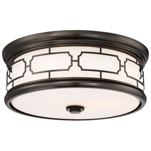 Lattice Drum Bronze 16-Inch LED Flush Mount with Opal Glass
