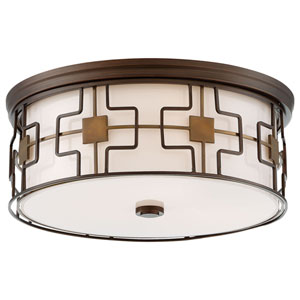 Dark Brushed Bronze and Aged Brass 16-Inch LED Flush Mount