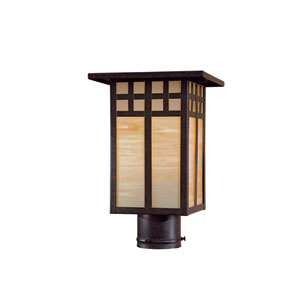 Transitional Textured French Bronze One-Light Outdoor Post