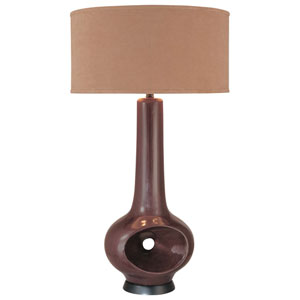 Dark Gray One-Light Table Lamp with Beige Fabric Shade