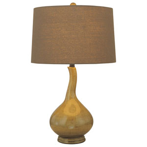 Dark Green One-Light Table Lamp with Dark Green Fabric Shade