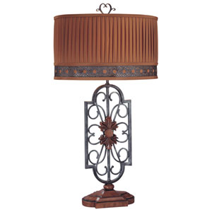 Brown and Grey One-Light Table Lamp with Cinnabar Pleated Fabric Shade