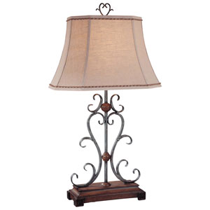 Brown and Grey One-Light Table Lamp with Sand Fabric Shade