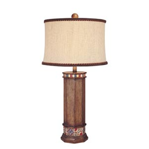 Brown Wood Look One-Light Table Lamp with Beige Fabric Shade