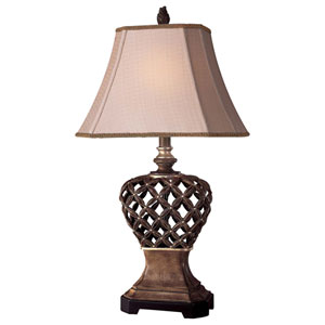 Warm Pecan and Silver Table Lamp