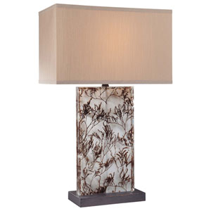 Clear Acrylic with Brown One-Light Table Lamp with Light Gray Fabric Shade