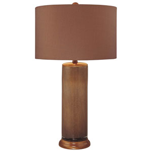 Dark Brown One-Light Table Lamp with Brown Fabric Shade