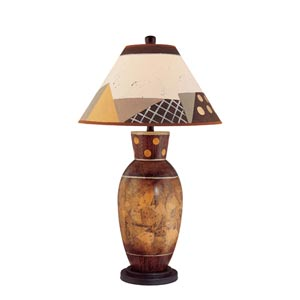 Brown Multicolor One-Light Table Lamp with 1 Each Multicolor Shade and Beige Fabric Shade
