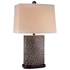 Black and Oak Beige Table Lamp