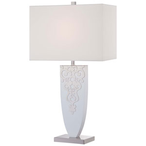Brushed Nickel with High Gloss White One-Light Portable Table Lamp