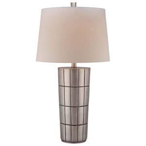 Satin Silver One-Light Table Lamp with White Fabric Shade