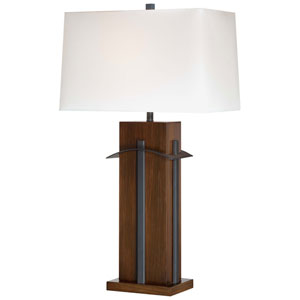 Walnut One-Light Table Lamp with White Linen Fabric Shade