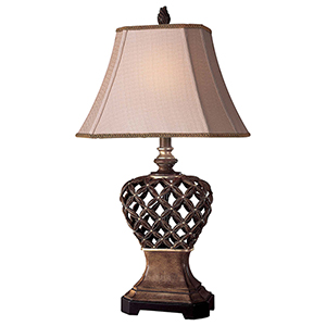 Brown and Gold 10-Inch One-Light Table Lamp