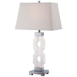 One-Light Table Lamp with Light Cream Linen Fabric Shade