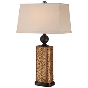 One-Light Table Lamp with Oatmeal Linen Fabric Shade