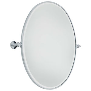 Beveled Chrome 25.5-Inch Width Large Oval Pivot Mirror