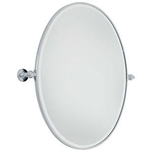 Beveled Chrome 25.5-Inch Width Large Oval Pivot Mirror