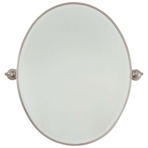 Beveled Brushed Nickel 25.5-Inch Width Large Oval Pivot Mirror