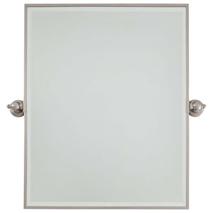 Beveled Brushed Nickel 24-Inch Width XI Rectangular Pivot Mirror