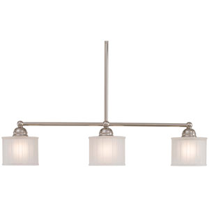 1730 Series Polished Nickel Three-Light Island Pendant with Etched Box Pleat Glass