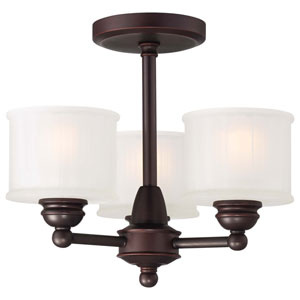 1730 Series Lathan Bronze Three-Light Semi-Flush