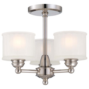 1730 Series Polished Nickel Three-Light Semi-Flush