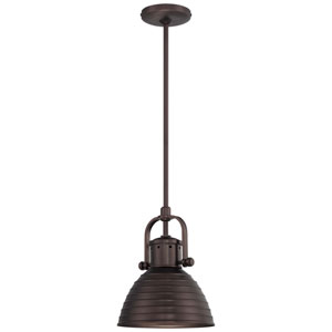 One-Light Pendant in Harvard Court Bronze with Metal Shade