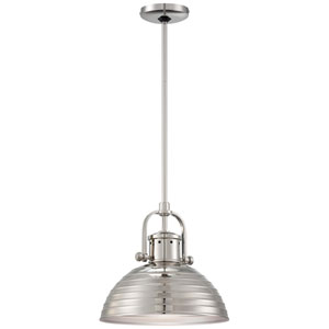 One-Light Pendant in Polished Nickel with Metal Shade