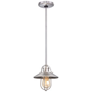 One-Light Pendant in Brushed Nickel with Metal Shade