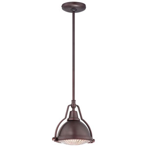 One-Light Pendant in Brushed Bronze with Metal Shade
