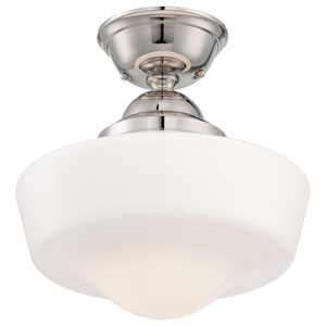 One-Light Semi-Flush Mount in Polished Nickel