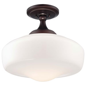 One-Light Semi-Flush Mount in Brushed Bronze