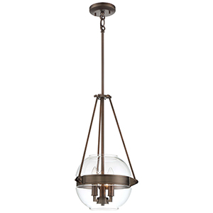 Atrio Harvard Court Bronze 12-Inch Three-Light Pendant